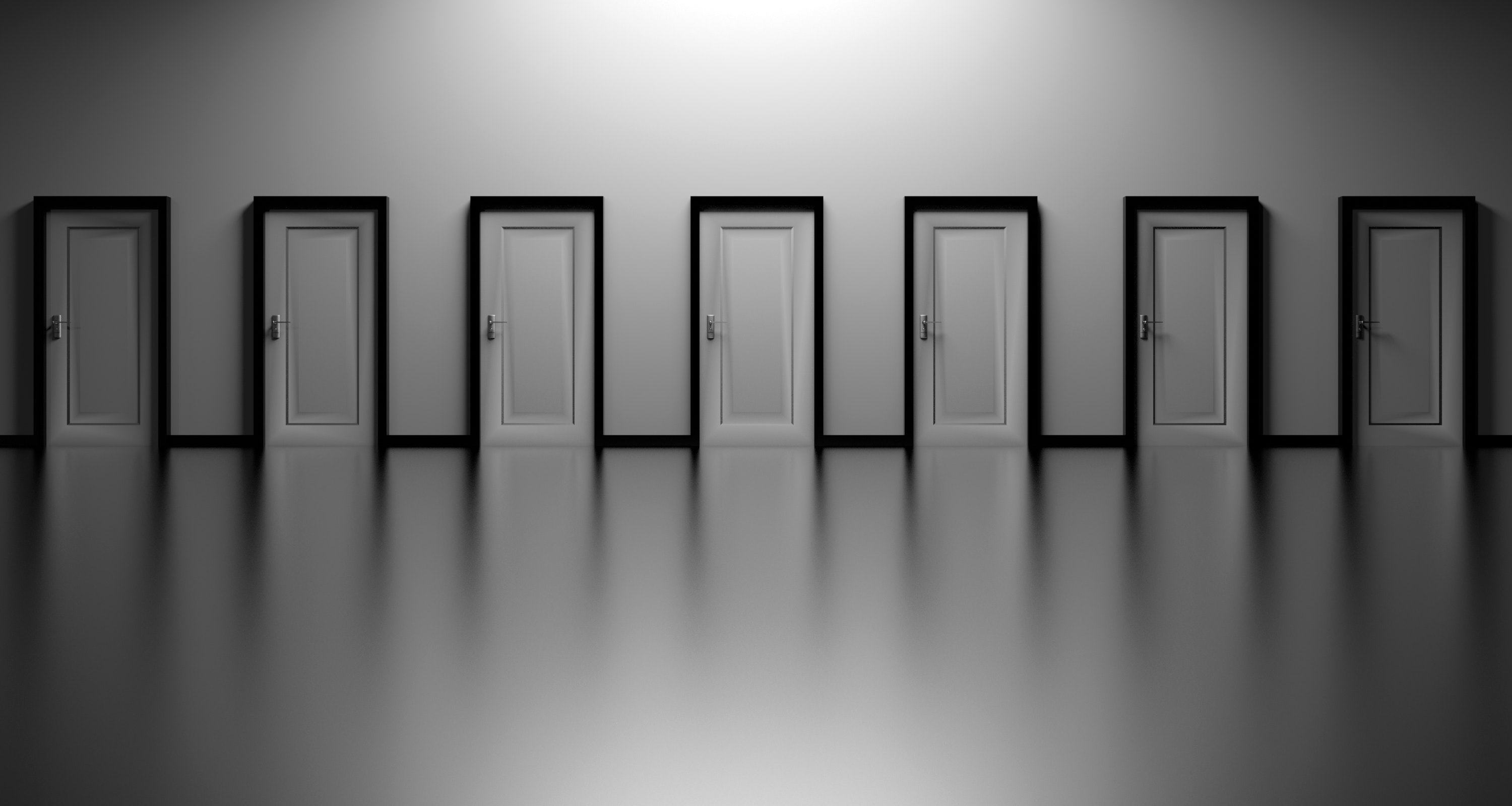 Picture of seven doors. Which door to enter?